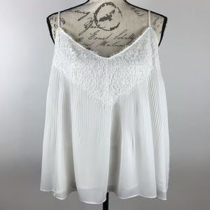 Halogen ~ Pleated Lace Detail Camisole